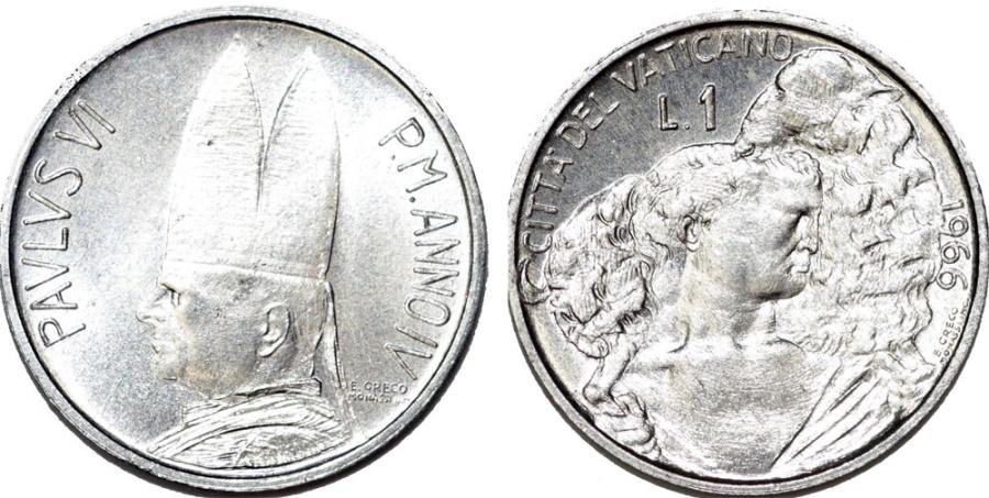 World Coins - Vatican City. Pope Paulus VI. Al 1 Lira 1966. Sheperd. BU