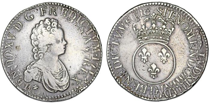 "World Coins - France. Lyon. King Luis XV ""The Well-Beloved"". (1715–1774). AR Ecu 1716 . Mint error VF."