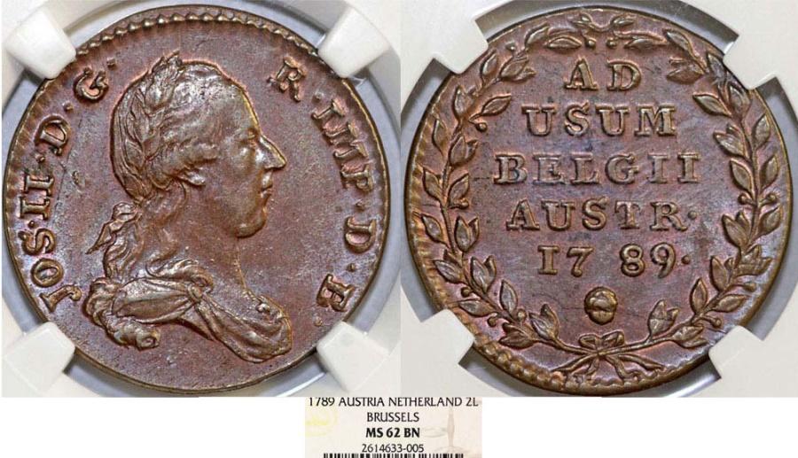 World Coins - H.R.E. Austrian Netherlands. Belgium. Josef II as Emperor (1780-1790). Cu 2 Liards 1789. NGC MS62BN