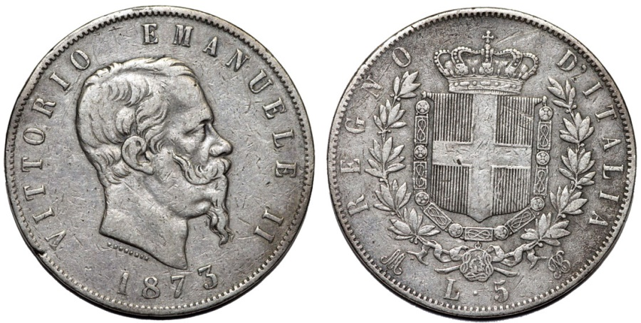 World Coins - Kingdom of Italy. AR 5 Lire 1873R. VF