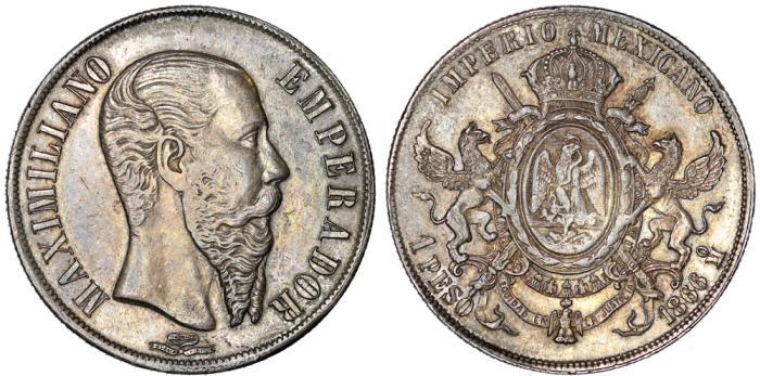 World Coins - Mexico. Empire of Maximilian (1864-1867). AR Peso 1866 Mo. Choice VF