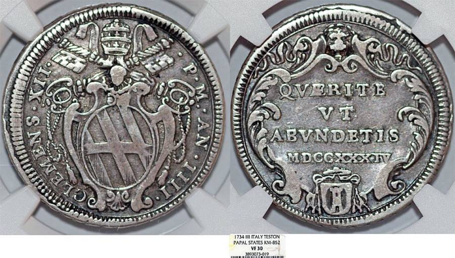 World Coins - Italy. Papal State. Rome. Pope Clement XII (1730-1740). AR Testone 1734 (AN IV). NGC VF30, toned.