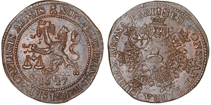 "World Coins - Spanish Netherlands. Nice Propaganda Cu Token "" On peace negotiation with Spain"". 1647. Choice XF"