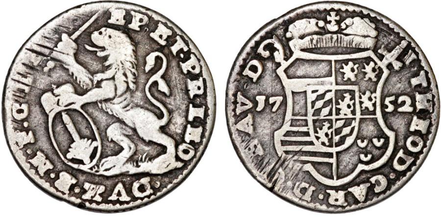 World Coins - Belgium. Liege. Joseph Theodore of Bavaria. AR 1 Escalin 1752. VF.