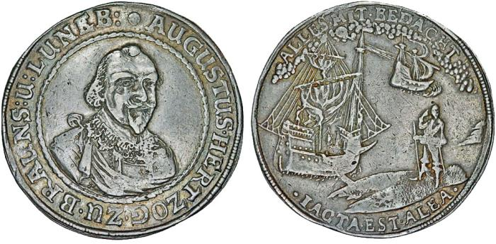 "World Coins - Germany. Brunswick-Wolfenbüttel. August the Young (1635-1666). AR ""Trip Thaler"" ND (ca.1650). VF"