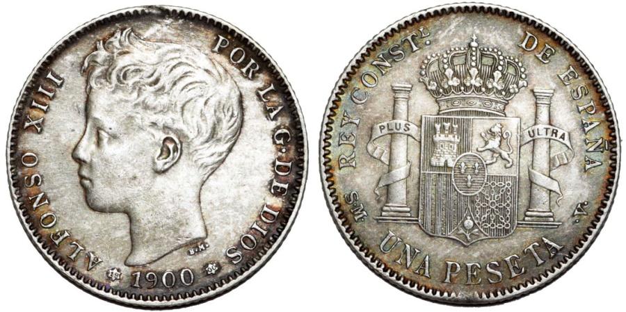 World Coins - Spain. Alfonso XIII (1886-1931). AR 1 Pesetas 1900 MP. ChoiceAU, toned.