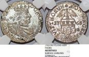 World Coins - Poland. City of Thorn. August III (1733-1763). Silver RARE 6 Grosz 1763 D-B. NGC AU, details