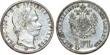 World Coins - Austian Empire. Franc Josef I (1848-1916)  Silver 1/4 Florin 1860 B. Nice AU