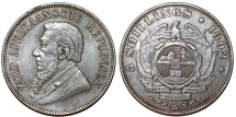 ZAR. South Africa. RARE Silver 5 Shillings 1892. VF, toned