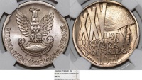 """World Coins - Poland PRL. CuNI 10 Zloty 1968. """"25th anniversary of PRL Army"""". NGC MS67!"""