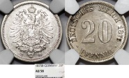 World Coins - Germany. Imperial Period. Prussia. Wihelm I. AR 20 Pfennig 1875 B.  NGC AU58