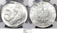 World Coins - Poland. II Republic (1918-1939). AR 10 Zloty 1939. NGC MS63