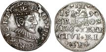 World Coins - Poland. (Livonia) Riga. Sigismund III (1587-1632). Silver 3 Gross - Trojak 1590. XF