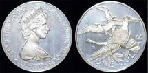 World Coins - British Virgin Islands. Queen Elizabeth II (1952- ). Silver Dollar 1973. Proof