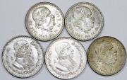 World Coins - Mexico. Lot of 5 Silver coins. struck in XXc, XF+ to UNC, cheap.
