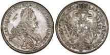 World Coins - H.R.E. Austria. Hall mint. Archiduché Charles VI 1711-1740, Silver Taler 1721. Toned AU