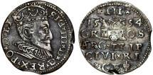 World Coins - Poland. (Livonia) Riga. Sigismund III (1587-1632). Silver 3 Gross - Trojak 1594. Toned XF