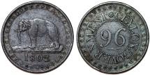 (Sri Lanka) CEYLON GOVERNMENT. AE 1/96 Rixdollar 1802. Choice VF.