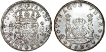 World Coins - MEXICO. Philip V (1700-1746). Pillar Coinage. Silver 8-Reales 1733-Mo MF. Choice AU, Rare
