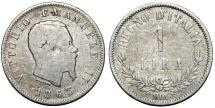 World Coins - Italy. Vittorio Emanuele II. AR 1 Lira 1863 M BN. VG