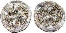 World Coins - Medieval Poland. Mieszko The Wobling Legs (1151-1211) . Silver Denar 1173-1185/1190. VF+, RARE!