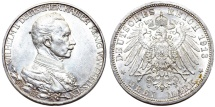 World Coins - Imperial Germany. Prussia. Wilhelm II. AR 3 Mark 1913A. UNC