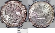 World Coins - Mexico. Republic. AR 8 Reales 1886 Go-RR. NGC AU58, toned, nice piece