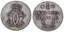 World Coins - Denmark. Christian VII. CU 1 Skilling 1771. VF+