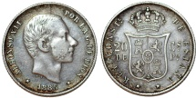 World Coins - Phillipines as Spanish Colony. Alfonso XII. AR 20 Centavo 1885. Toned, about  XF