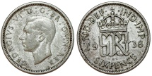 World Coins - Great Britain. King George VI. Silver 6 Pence 1938. VF/ XF, toned