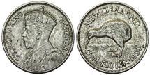 World Coins - New Zealand. Commonwealth. George V. AR Florin 1934.  XF