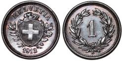World Coins - Switzerland. Federation issue. AE 1 Rappen 1913 B. Choice AU