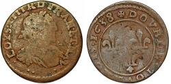 World Coins - France. King Louis XIII The JUST (1610-1643). AE 2 Tournois 1638. Fine
