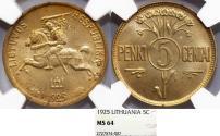 World Coins - Lithuania. Republic. Nice 5 Cenu 1925. NGC MS64!