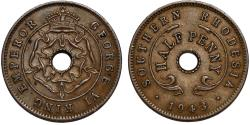 World Coins - British rule of Southern Rhodesia. George VI. Cu 1/2 Penny 1943. About XF