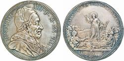 World Coins - Papal States. Pope Innocent XII - Antonio Pignatelli. (1691-1700). AR Piastra 1698. 1st. Anniversary of Peace of Ryswick. Good VF