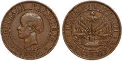 World Coins - Haiti. Second Republic. Nicholas F. Geffrard. President (1859-1867). Cu 10 Centimes 1863. XF