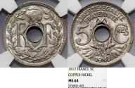 World Coins - France. Republic. NiCu 5 Centimes 1917. NGC MS64