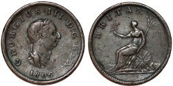 World Coins - Great Britain. George III. CU 1 Farthing 1806. About VF