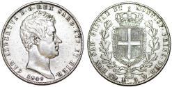 World Coins - Italy. Sardinia. Carl Albertus. Silver 5 Lire 1849 P. Nice XF.