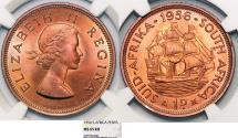 World Coins - South Africa as British Colony. Elizabeth II. BRZ 1 Penny 1956. NGC MS65 RD