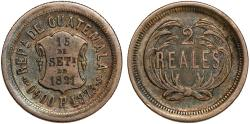 World Coins - Guatemala. Republic. AR 2 Reales 1873. Nicely toned Choice XF.