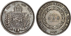 World Coins - Brazil. Republic. AR 500 Reis 1867 R. XF, toned