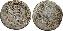 World Coins - Poland. Rzeczypospolita. Poznan. king Sigismund III. RARE Silver Gross 1597. Toned , Fine