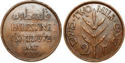 World Coins - Palestine. British Administration. AE 2 Mils 1927. Choice XF+