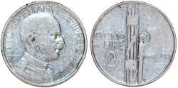 World Coins - Italy. Kingdom. Vittorio Emanuelle III. 2 Lire 1923 R. aVF