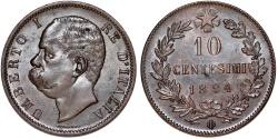 World Coins - Italy. Kingdom. Umberto I. CU 10 Centesimi 1894-BI. UNC
