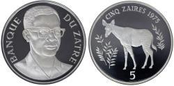 World Coins - Zaire. Wildlife Conservation. Proof 5 Zaires 1975. Okapi. NGC PF68 Ultra Cameo.