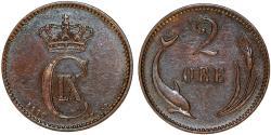 World Coins - Denmark. Christian IX. 2 Ore 1889. Good XF