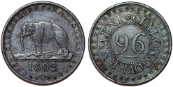 World Coins - (Sri Lanka) CEYLON GOVERNMENT. AE 1/96 Rixdollar 1802. Choice VF.